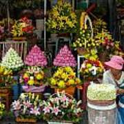 Cambodia Flower Seller Art Print by Mark Llewellyn