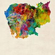Cambodia Watercolor Map Art Print