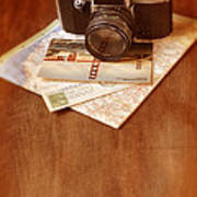 Camera Map And Postcards Art Print