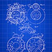 Camera Shutter Patent 1910 - Blue Art Print