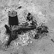 Camp Fire Fall Cattle Round-up Tohono O'odham Indian Reservation Near Sells Arizona 1969 Art Print