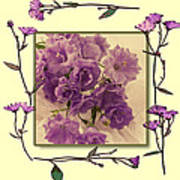 Campanula Framed With Pressed Petals Art Print