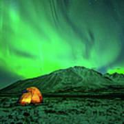 Camping Under Northern Lights Art Print