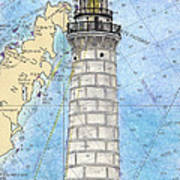Cana Island Lighthouse Wi Nautical Chart Map Art Art Print