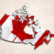 Canada Map Art With Flag Design Art Print