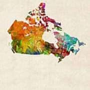 Canada Watercolor Map Art Print