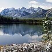 1m3541-canadian Peak Reflected In Herbert Lake Art Print