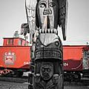 Canadian Totem And Railway Art Print