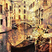 Canal And Docked Gondolas In Venice Art Print