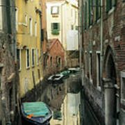 Canal Boats And Reflections Venice Italy Art Print by Marianne Campolongo
