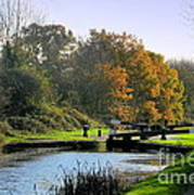 Canal Locks In Autumn Art Print