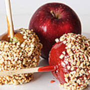Candied Caramel And Regular Red Apple Art Print