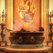 Candle Lit Bath Art Print