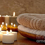 Candles And Towels In A Spa Art Print by Olivier Le Queinec