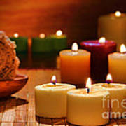 Candles Burning In A Spa  Art Print