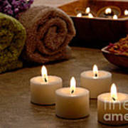 Candles In A Spa Art Print