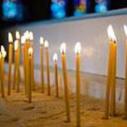 candles in the Catholic Church shallow depth of field Art Print
