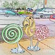 Candy Bike Rack In Colored Pencil Art Print