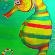 Candy Cane Seahorse Art Print