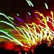 Candy Stripe Fireworks Art Print