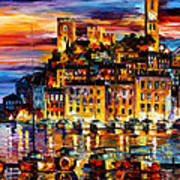 Cannes-france - Palette Knlfe Oil Painting On Canvas By Leonid Afremov Art Print