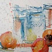 Canning Peaches Art Print by Sandra Strohschein