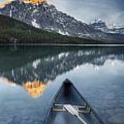 Canoe At Lower Waterfowl Lake With Art Print