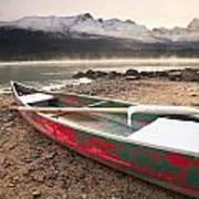 Canoe On Misty Fall Morning, Maligne Art Print