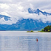 Canoeing In Colter Bay In Grand Teton National Park-wyoming Art Print