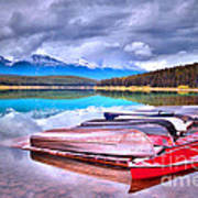 Canoes At Lake Patricia Art Print