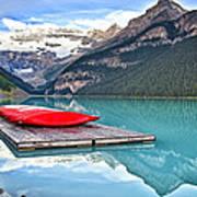 Canoes Of Lake Louise Alberta Canada Art Print