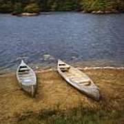 Canoes Waiting Art Print
