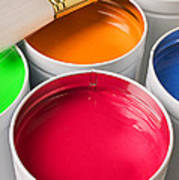 Cans Of Colored Paint Art Print