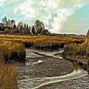 Cape Cod Americana - Low Tide In A Barnstable Village Marsh -  Art Print