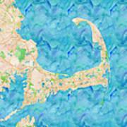 Cape Cod Watercolor Map Art Print