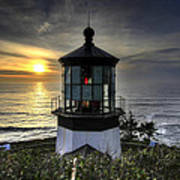 Cape Meares Lighthouse At Sunset Art Print