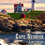 Cape Neddick Lighthouse  At Sunset  Art Print