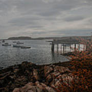 Cape Porpoise Maine - Fog Rolls In Print by Bob Orsillo