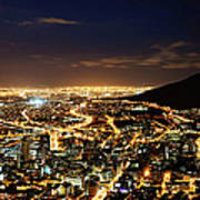 Cape Town, South Africa By Night Art Print