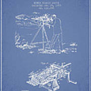 Capps Machine Gun Patent Drawing From 1899 - Light Blue Art Print