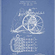 Capps Machine Gun Patent Drawing From 1902 - Light Blue Art Print