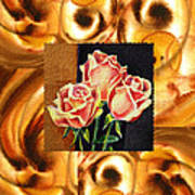 Cappuccino Abstract Collage French Roses Art Print