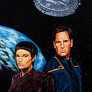 Captain Archer And T Pol Art Print by Robert Steen