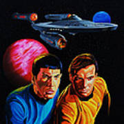 Captain Kirk And Mr. Spock Art Print by Robert Steen