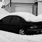 Car Buried In Snow Outside House In Honningsvag Norway Europe Art Print