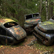 Car Cemetery In The Woods. Art Print
