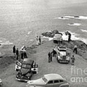 Car Over Edge On Highway One  Big Sur  California    March 27 1947 Art Print