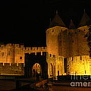 Carcassonne At Night Print by France  Art