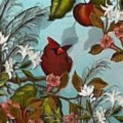 Cardinal And Apples Art Print