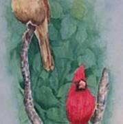 Cardinal Companions Art Print